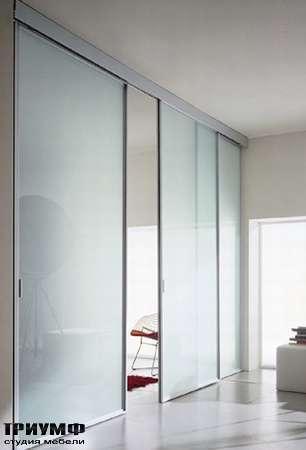 Итальянская мебель Longhi - Раздвижная перегородка Wind, матовое стекло, алюминий