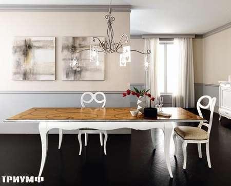 Итальянская мебель Flai - стол раздвижной крашенный, с орнаментом на столешнице