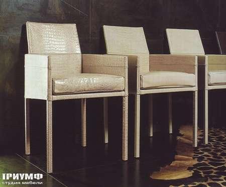 Итальянская мебель Rugiano - Стул с подлокотниками Akita в коже крокодила