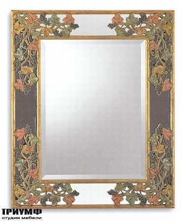 Итальянская мебель Chelini - Зеркало прямоугольное с цветочным орнаментом арт.1013