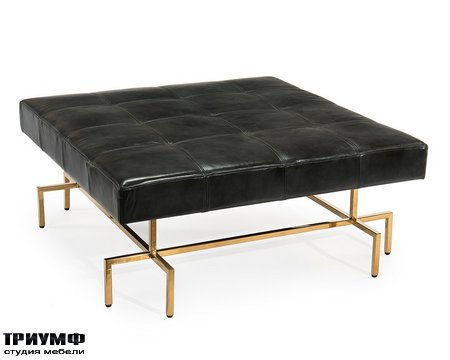 Американская мебель John Richard - Abella Square Charcoal Leather Ottoman