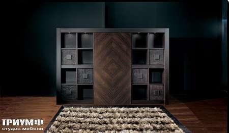 Итальянская мебель Smania - Стенка Barbook Deluxe венге, кожа крокодила