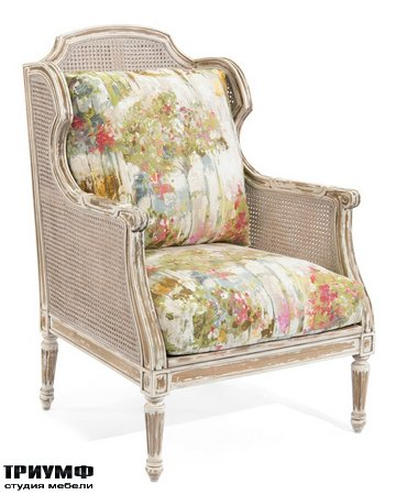 Американская мебель John Richard - Cane Wing Chair with Loose Cushions