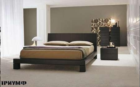 Итальянская мебель Presotto - кровать Club в коже testa di moro