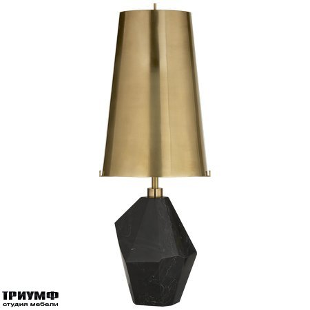 Американская мебель Visual Comfort & Co - Halcyon Medium Accent Lamp in Black Cremo Marble with Antique Burnished Brass Shade