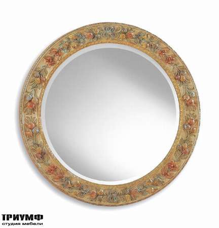 Итальянская мебель Chelini - Зеркало круглое с фруктами арт.417
