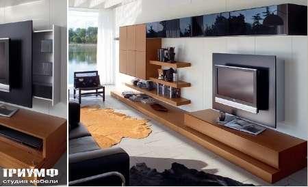 Итальянская мебель Map - Стенка под ТВ прямая, венге