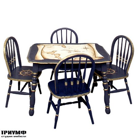 Американские светильники  AFK Furniture - Antique Nautical Map Play Table and Chairs Set
