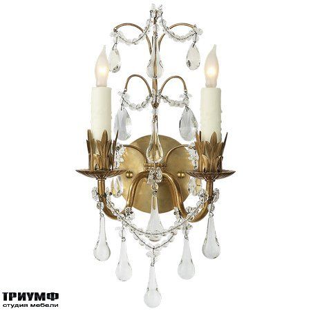 Американская мебель Visual Comfort & Co - Hannah Two Light Sconce in Hand Rubbed Antique Brass with Crystal Trim