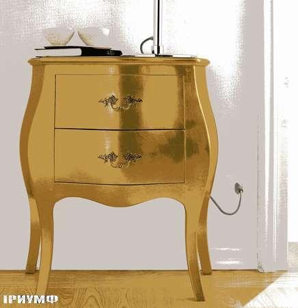 Итальянская мебель Flai - тумба прикроватная в золотой фольге370