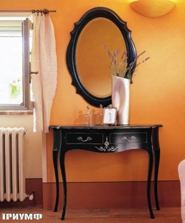 Итальянская мебель Tonin casa - консоль и зеркало в черном дереве