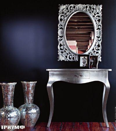 Итальянская мебель Tonin casa - консоль и зеркало с покрытием сусальное серебро