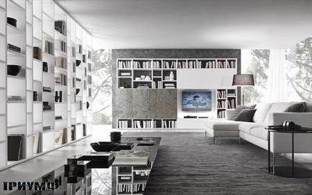 Итальянская мебель Presotto - Стенка Layout в камне и белом лаке
