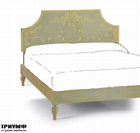 Итальянская мебель Chelini - Кровать из массива дерева, с цветочным узором