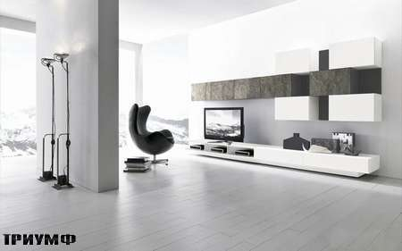 Итальянская мебель Presotto - Стенка Modulart с фасадами в камне