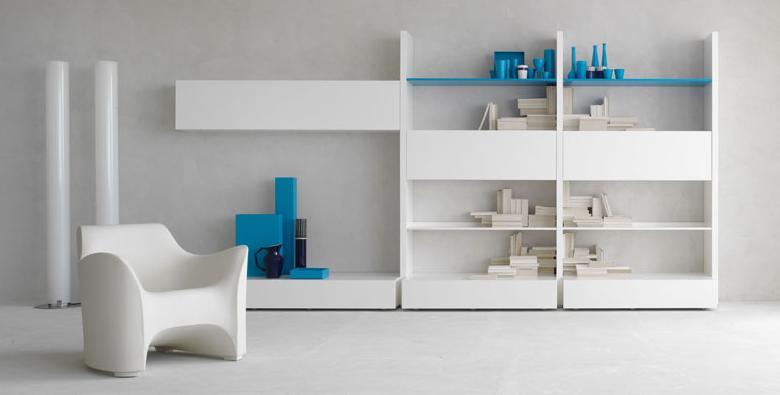 Итальянская мебель Olivieri - Стенка открытая в глянцевом лаке Cube3