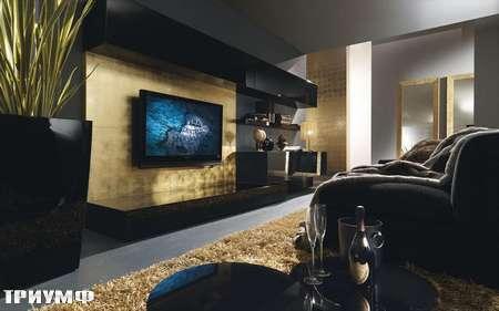 Итальянская мебель Presotto - Стенка Oasi с золотой панелью по ТВ