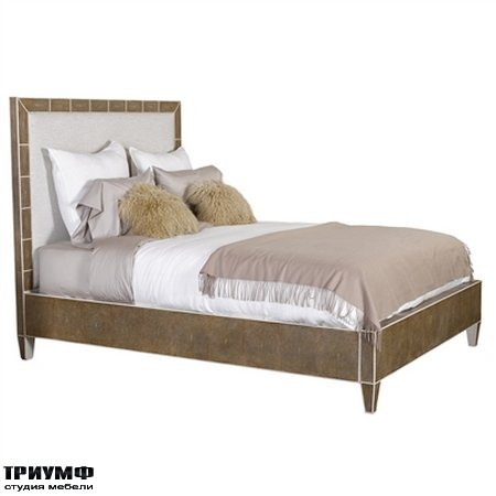 Американская мебель Maitland-Smith - Embossed Shagreen Leather Inlay Queen Size Bed with Beige Linen Upholstery