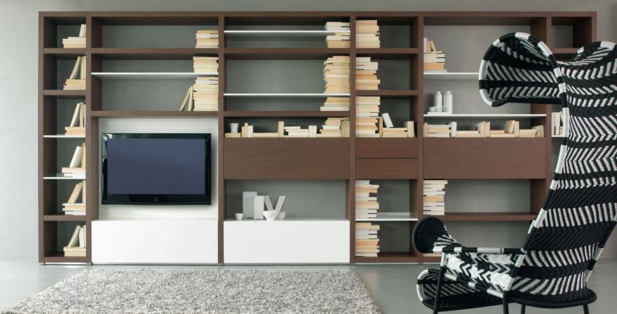 Итальянская мебель Olivieri - Стенка под ТВ глянцевый лак, дерево Cube3