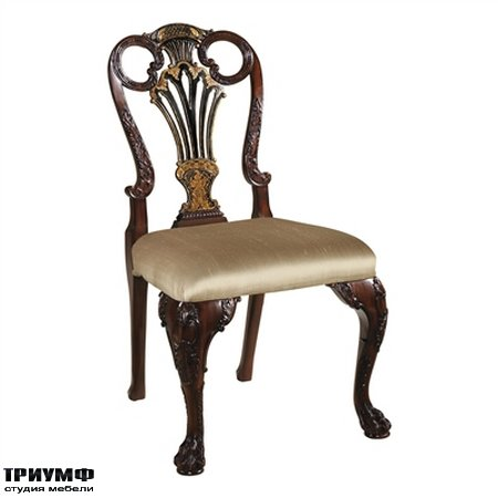 Американская мебель Maitland-Smith - Carved Antique Mahogany and Black Chinoiserie Finished Side Chair
