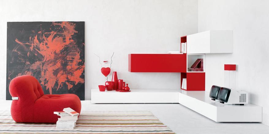 Итальянская мебель Olivieri - Стенка угловая белый и красный глянцевый лак Cube3
