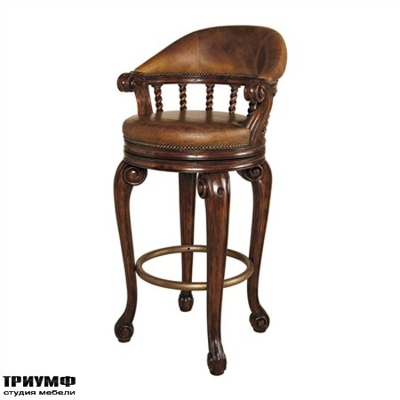 Американская мебель Maitland-Smith - Dark Antique Lido Finished Mahogany Swivel Counter Stool