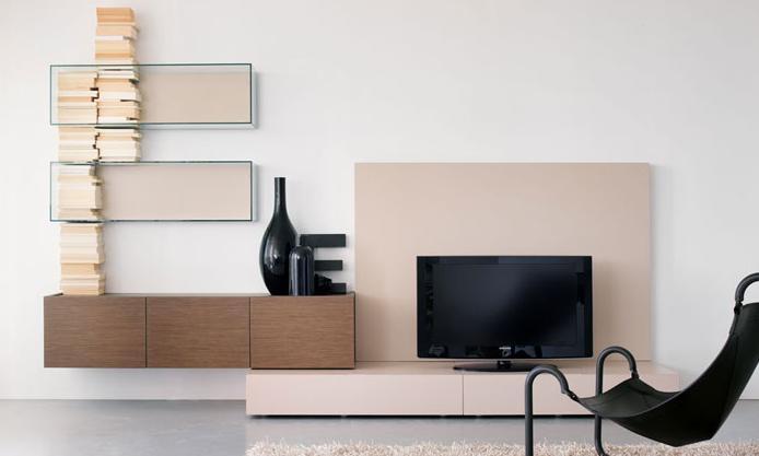 Итальянская мебель Olivieri - Стенка подвесная в орехе и лаке, Cube3