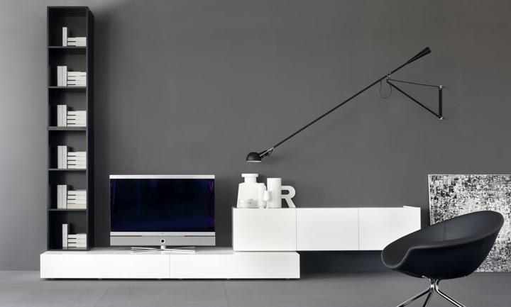 Итальянская мебель Olivieri - Стенка под ТВ Cube3, серый и белый лак