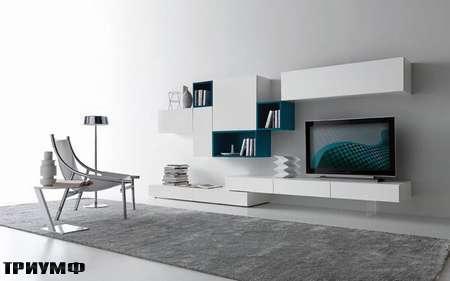 Итальянская мебель Presotto - стенка Modus в лаке белом и цвета океана