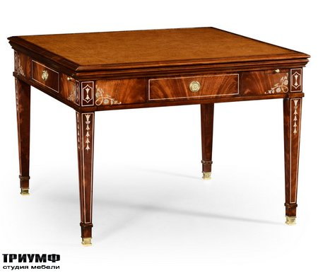 Американская мебель Jonathan Charles - Mahogany Square Games Table with Mother of Pearl Inlay