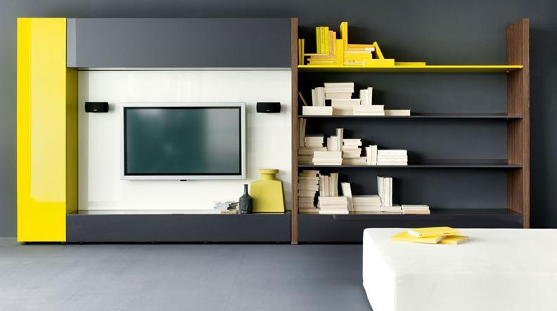 Итальянская мебель Olivieri - Стенка под ТВ Cube3, с металлическими полками