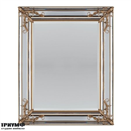 Американская мебель la Barge - Rectangular Mirror Accented by Gold Floral Decor