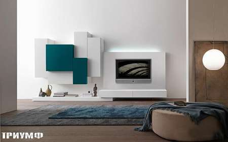 Итальянская мебель Presotto - стенка Modus комбинированной глубины в матовом лаке