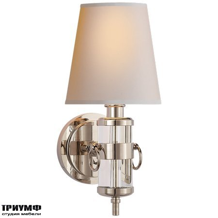 Американская мебель Visual Comfort & Co - Jonathan Sconce in Crystal with Natural Paper Shade