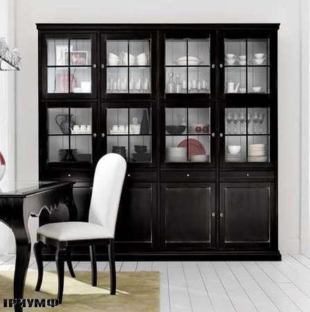 Итальянская мебель Flai - Шкаф для посуды в крашенном дереве со стеклянным дверьми