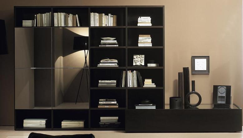 Итальянская мебель Olivieri - Стенка-библиотека открытая и с распашными дверьми Surprise