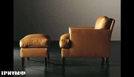 Итальянская мебель Meridiani - кресло Габин в коже с пуфом