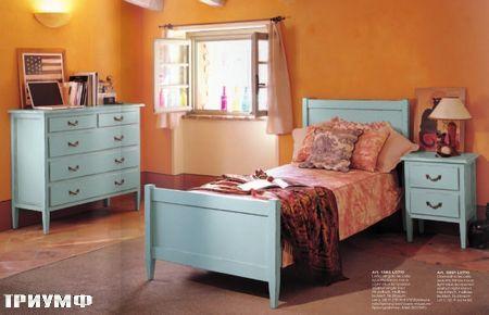 Итальянская мебель Tonin casa - кровать односпальная в голубом дереве