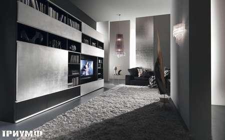 Итальянская мебель Presotto - стенка Pari глянцевый лак с серебром