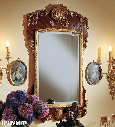 Итальянская мебель Colombo Mobili - Зеркало кол. Boccherini арт.516 палиссандр резьба золото