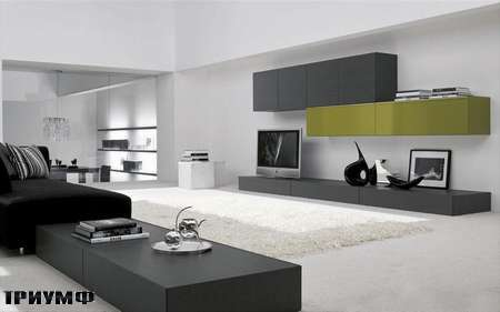 Итальянская мебель Presotto - стенка в сером дубе и лаке