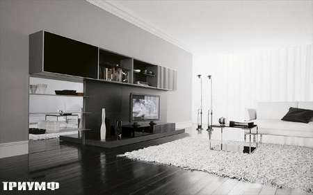 Итальянская мебель Presotto - стенка с зеркальной панелью