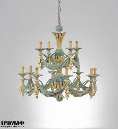 Итальянская мебель Chelini - Люстра потолочная двухуровневая голубая с золотом