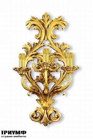 Итальянская мебель Chelini - Бра 3 светильника, дерево, сусальное золото арт. 987