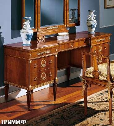 Итальянская мебель Colombo Mobili - Туалетный столик и зеркало-трильяж в имперском стиле арт.394 кол. Paganini