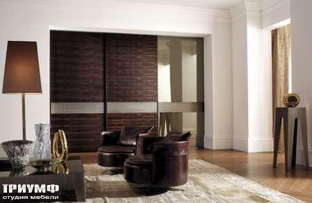 Итальянская мебель Longhi - Раздвижная перегородка Headline палисандр вставка в стекле
