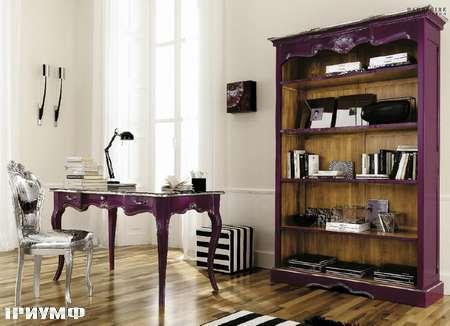 Итальянская мебель Flai - стол письменный сиреневый лак и библиотека