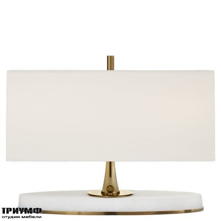 Американская мебель Visual Comfort & Co - Casper Small Desk Lamp in Hand Rubbed Antique Brass and Alabaster with Linen Shade