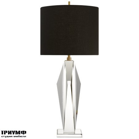 Американская мебель Visual Comfort & Co - Castle Peak Table Lamp in Crystal with Black Linen Shade
